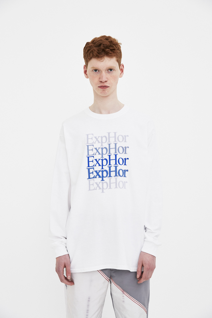 Expert Horror Blue Fade Logo Long Sleeve Tee T-shirt Top Green S/S 18 SS18 Spring Summer 2018 Machine-A dover street cotton white print