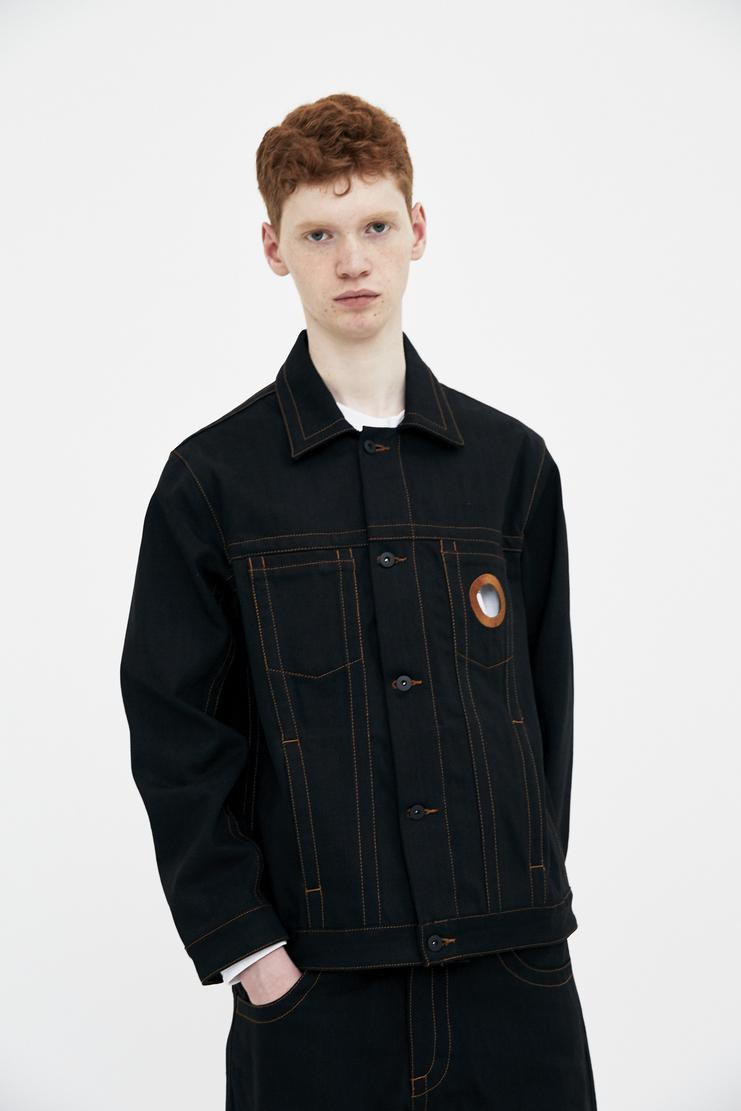 Craig Green Black Denim Jacket orange embroidery stitch eyelet cutout collar cotton ss18 CG lfw machine a