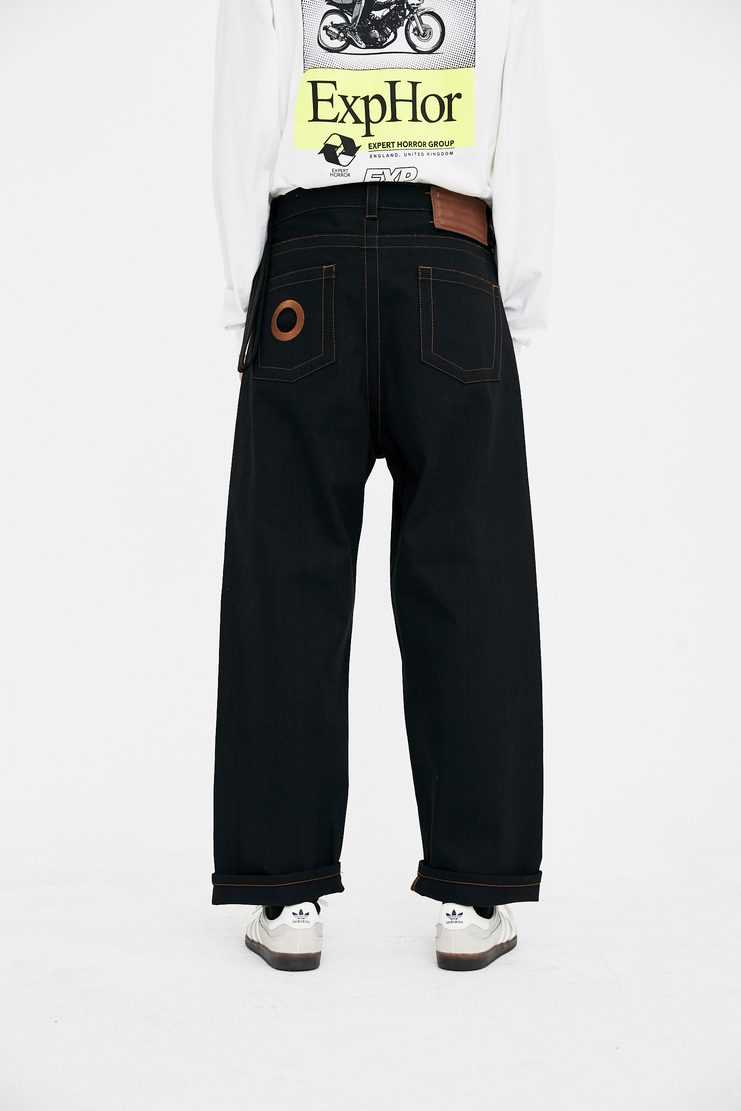 Craig Green Black Denim Jeans orange embroidery stitch eyelet cutout collar cotton ss18 CG lfw machine a