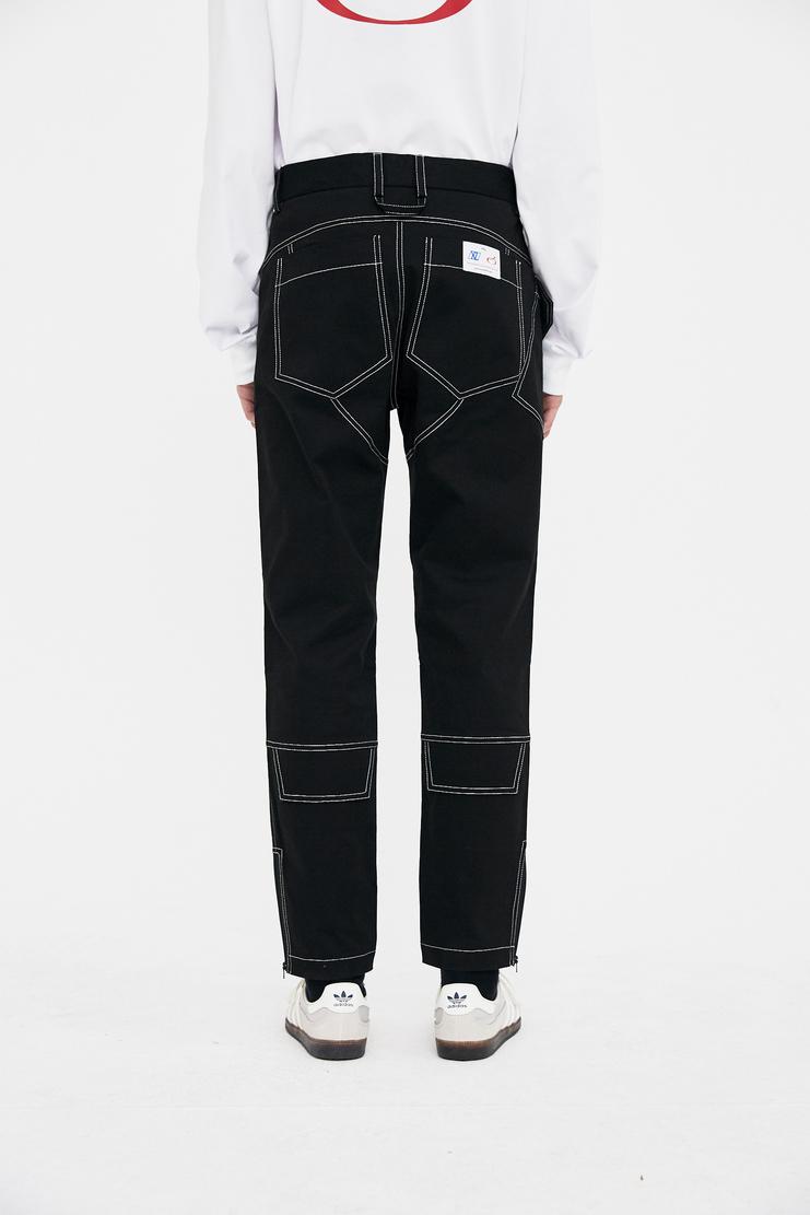 Xander Zhou black biker trousers pants bottom s/s 18 ss18 Spring Summer 2018 xandar zou Machine-A
