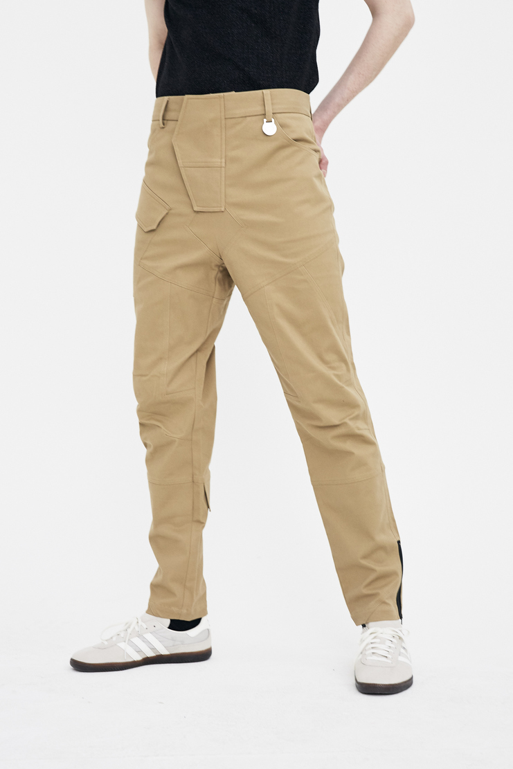 Xander Zhou sand biker trousers pants bottom s/s 18 ss18 Spring Summer 2018 xandar zou Machine-A beige black