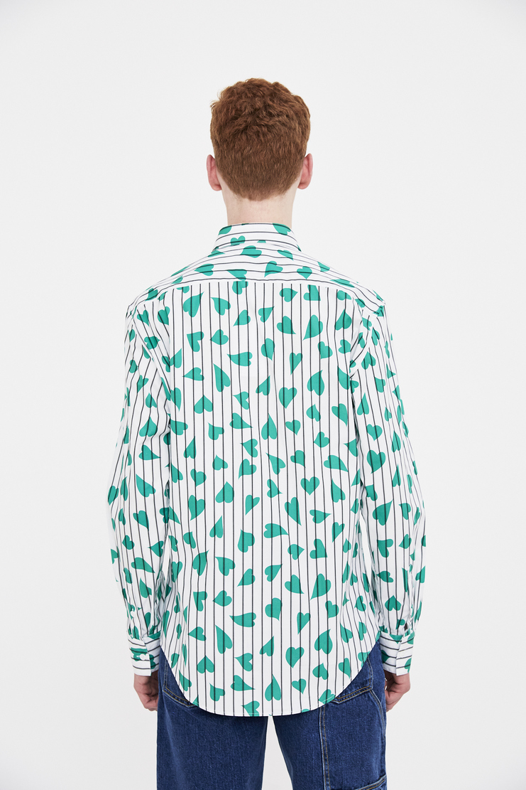 JW Anderson green heart stripe shirt  J.W Anderson Bottom JW Andersonn J W Anderson SS/18 Spring Summer Machine-A