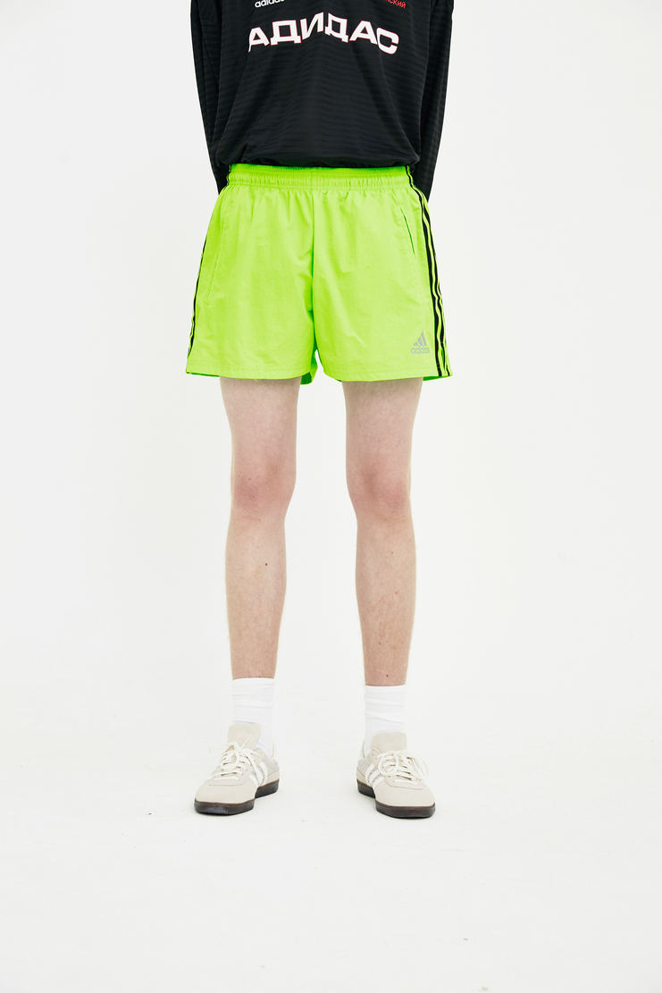 Gosha Rubchinskiy green track shorts SS18 SS18 S/S 18 rubchinsky Machine-A joggers elastic short fluro fluoroescent lime