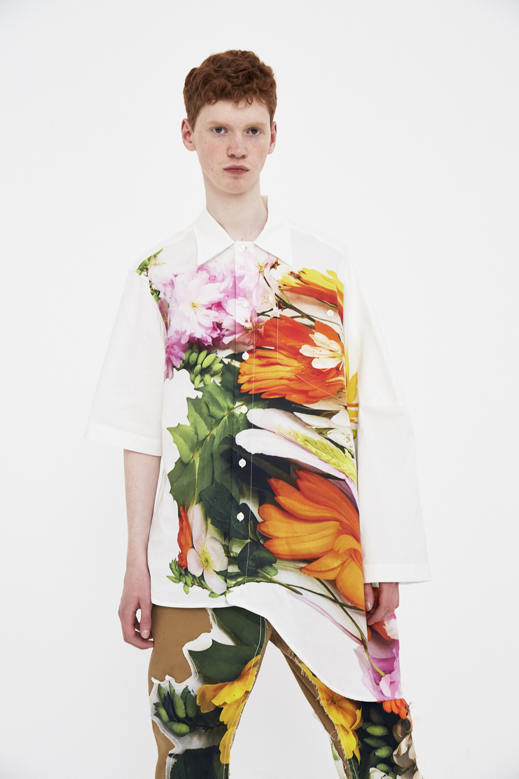 Alex Mullins Warped Short Sleeve Shirt flowers floral cotton tshirt ss18 spring summer 2018 oversized large stretched