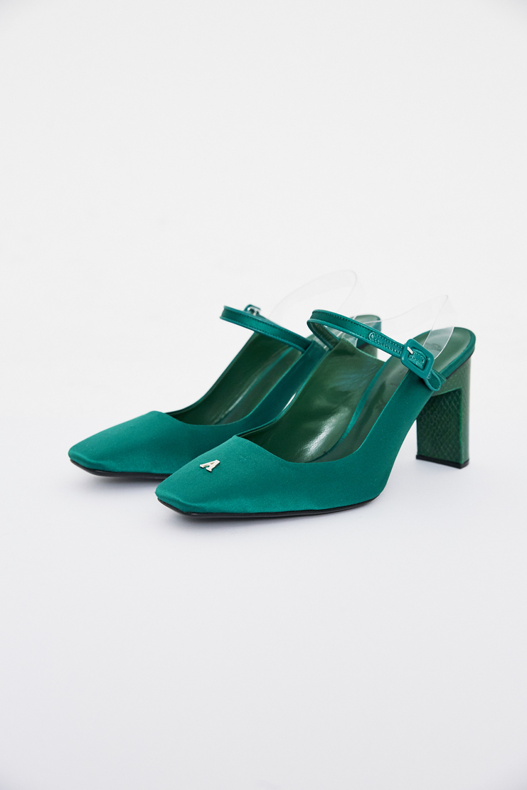 ALYX Square High Heel Shoes ss18 spring summer 2018 green satin