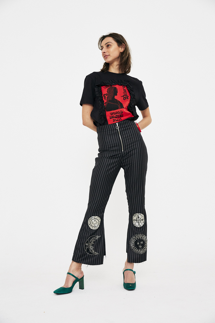 Dilara Findikoglu Count Saint Germain Trousers black check stripe pinstripe sun religion rebel church cropped bell flare csm ss18 lfw findikolu