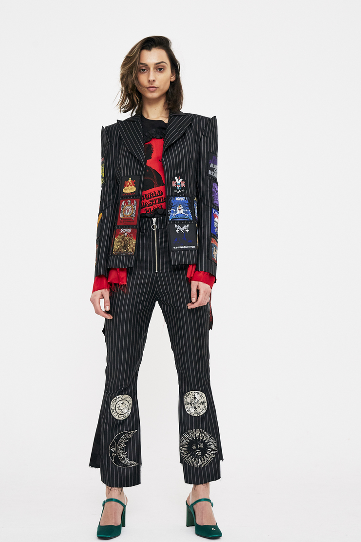 Dilara Findikoglu Count Saint Germain Trousers black check stripe pinstripe sun religion rebel church blazer jacket ozzy patchwork csm ss18 lfw findikolu