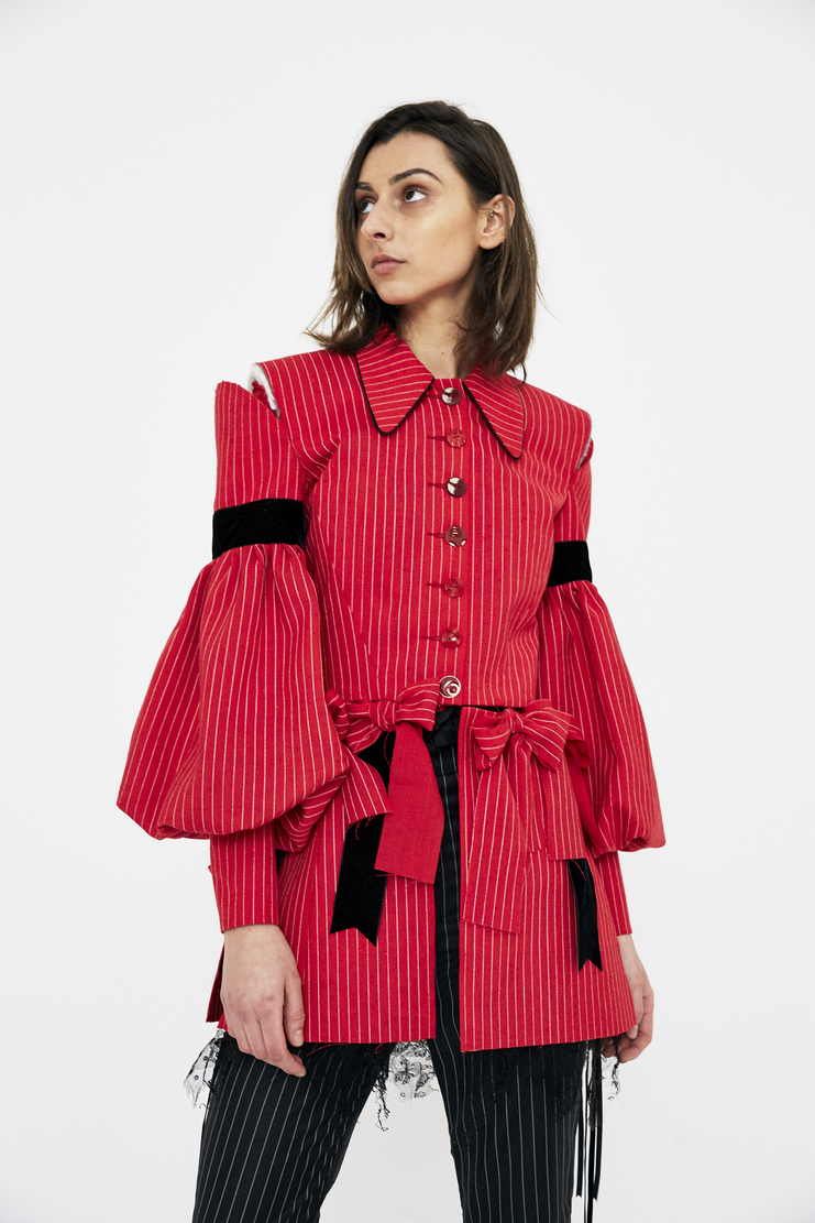 Dilara Findikoglu doublet dress stripe pinstripe sun religion rebel church blazer jacket red csm ss18 lfw findikolu wool bow