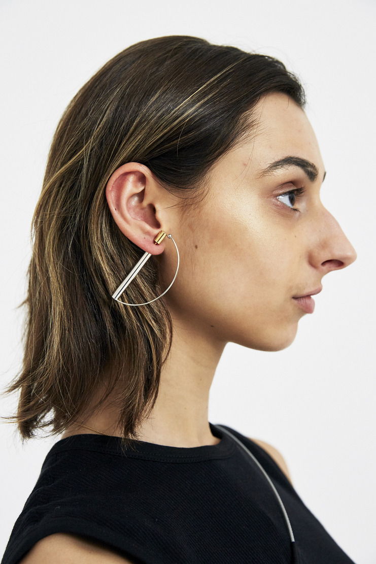 BEAUTON Stick Earring BT1-ST-E02-R-L gold silver hook earring womens jewellery machine a machine-a showstudio