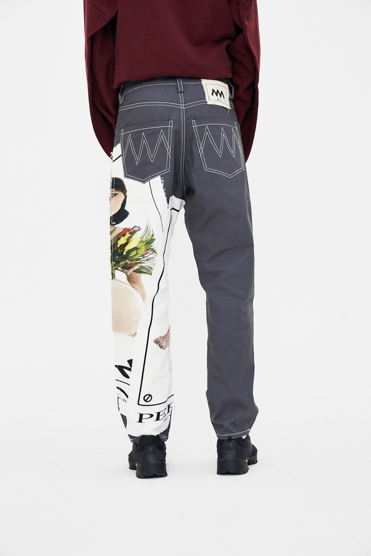 Alex Mullins Trousers floral patch print flowers ss18 chin spring summer 2018 card stretch