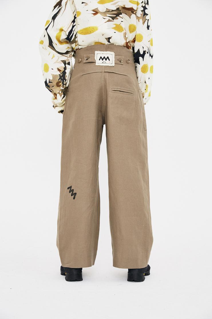 Alex Mullins Linen Pocket Trousers cotton wide leg baggy oversized lfw ss18 s/s 18 london mulins mushroom beige sand pocket