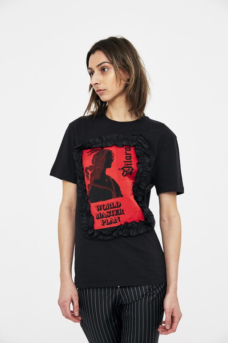 Black Master Plan T-Shirt patchwork logo Dilara Findikoglu black sun religion rebel church cotton tee csm ss18 lfw findikolu