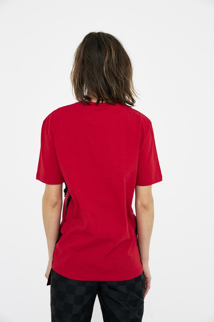 red black Master Plan T-Shirt patchwork logo Dilara Findikoglu black sun religion rebel church cotton tee csm ss18 lfw findikolu
