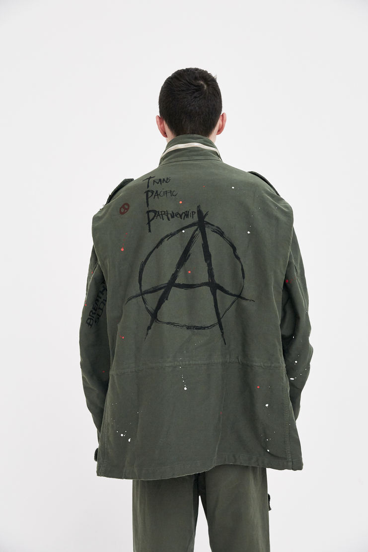 424 X ALPHA X SLAM JAM Military Green M-65 ANARCHY Jacket Trench Coat Spring Summer 2018 SS18 S/S 18 FOUR TWO FOUR Machine-A