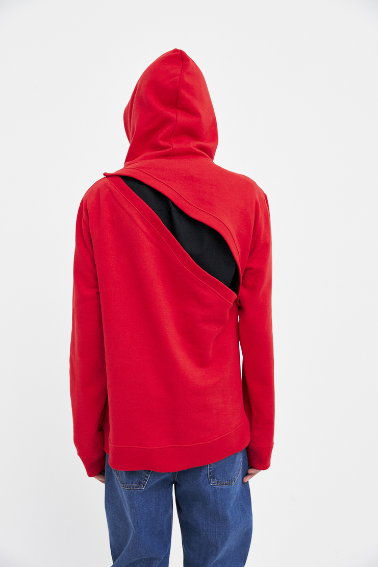 Raf Simons Two-Piece Hoodie red print slit hole diagonal open ss18 spring summer 2018