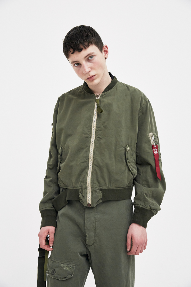 424 X ALPHA X SLAM JAM Green Special Sleeve Bomber Jacket outerwear Spring Summer 2018 SS18 S/S 18 Alpha Industries FOUR TWO FOUR Machine-A