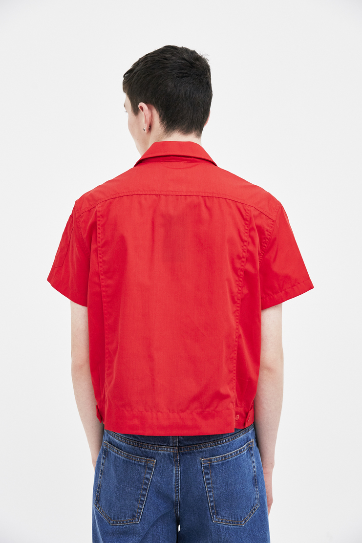 Raf Simons Red Two Pocket Short Shirt top simon raf simon Machine-A