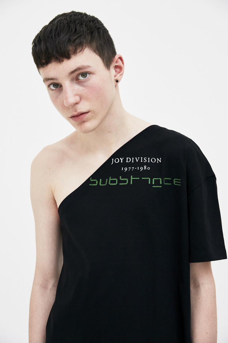 Raf Simons black joy division asymmetrical Shirt top jersey top simon raf simon Machine-A