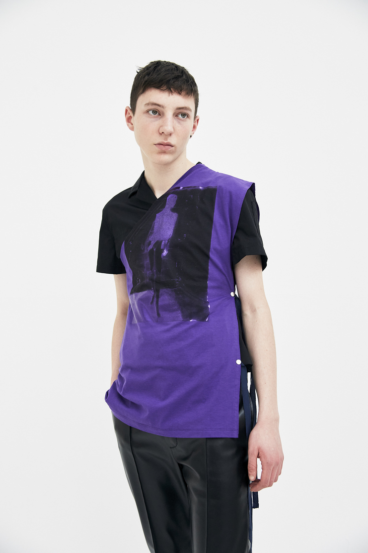 Raf Simons Purple Printed Asymmetrical One Sleeve Shirt simon raf simon Machine-A