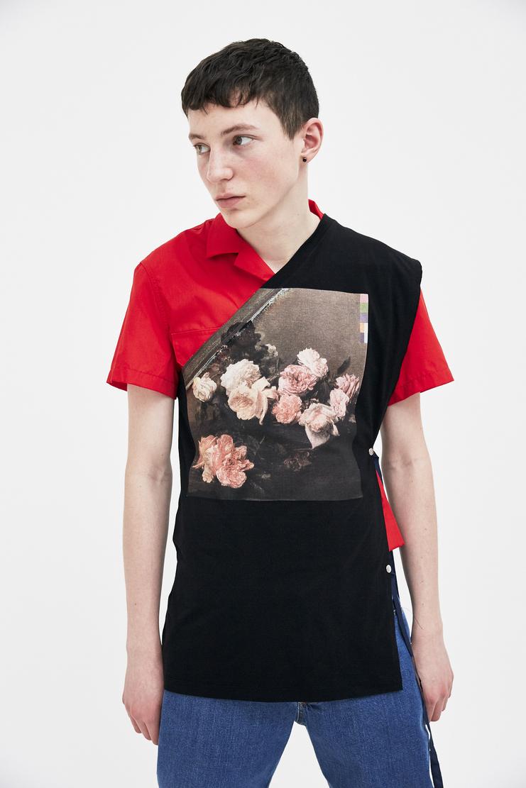 Raf Simons black flower print asymmetrical top jersey top Shirt top simon raf simon Machine-A