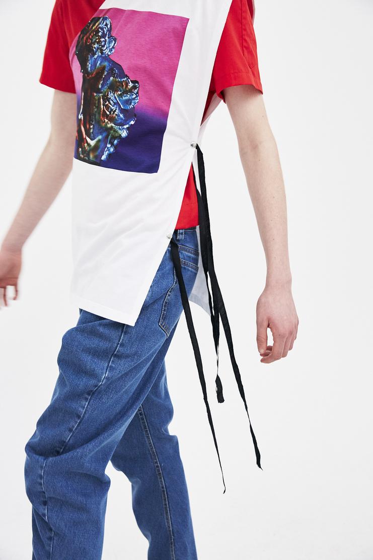 Raf Simons white printed asymmetrical one sleeve top Shirt raf simon simon Machine-A