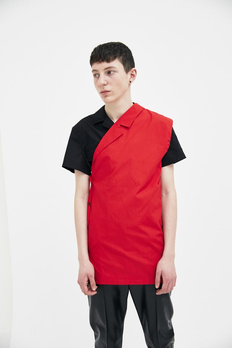 Raf Simons Red Asymmetrical Vest Shirt top simon raf simon Machine-A