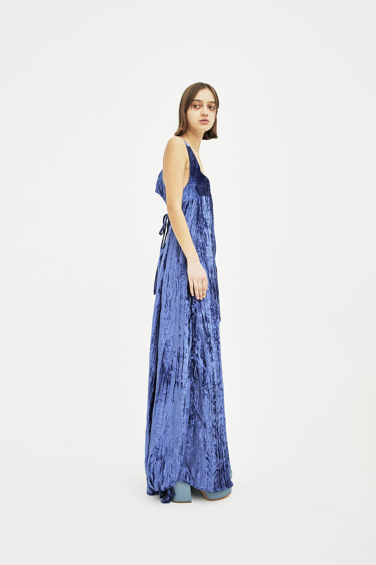 DELADA Blue Open Back Long Dress with Rope S/S 18 dilada Spring Summer 2018 WOMENS PRE DWPS3DR01