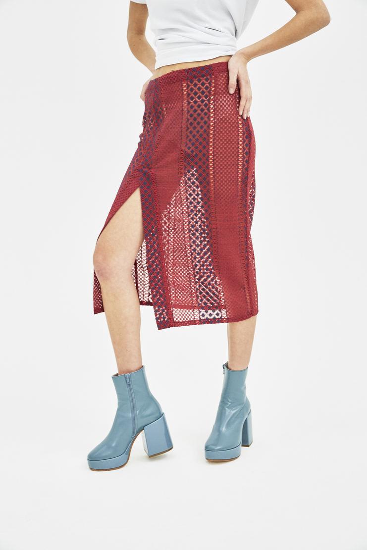 DELADA Red Long Lace Skirt bottom S/S 18  ss18 dilada Delada Spring Summer 2018 Machine-A