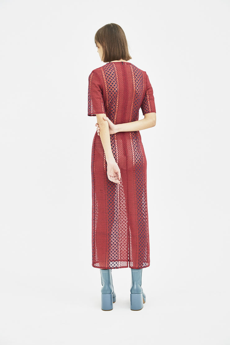 DELADA delada Red Short Sleeve Lace laced Dress S/S 18 SS18 Spring Summer 2018 dilada MACHINE-A