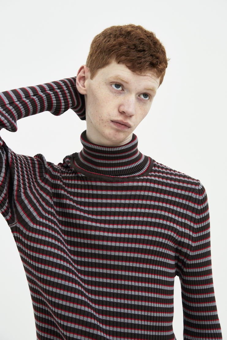 Maison Margiela Brown Stripe Turtleneck Pullover top sweater Spring Summer 18 SS18 S/S/ 18 MMM Margela Margella Mason Masion Machine-A
