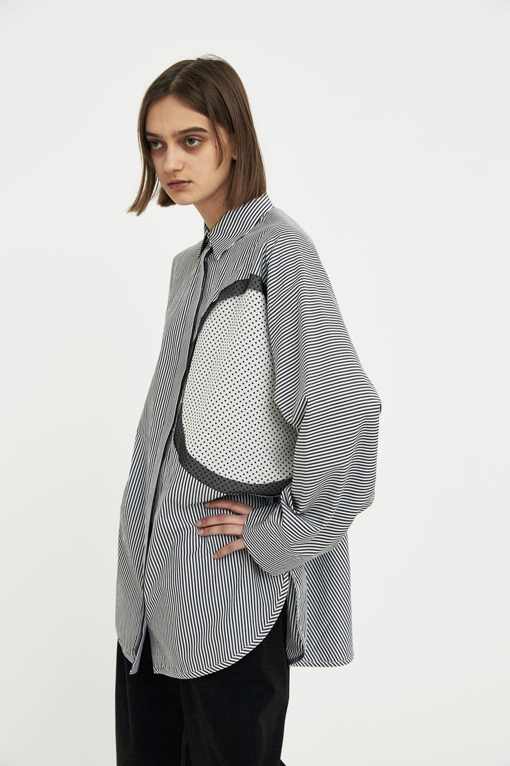 Maison Margiela black stripe long sleeve shirt top polkadot cutout Spring Summer 18 SS18 S/S/ 18 MMM Margela Margella Mason Masion Machine-A