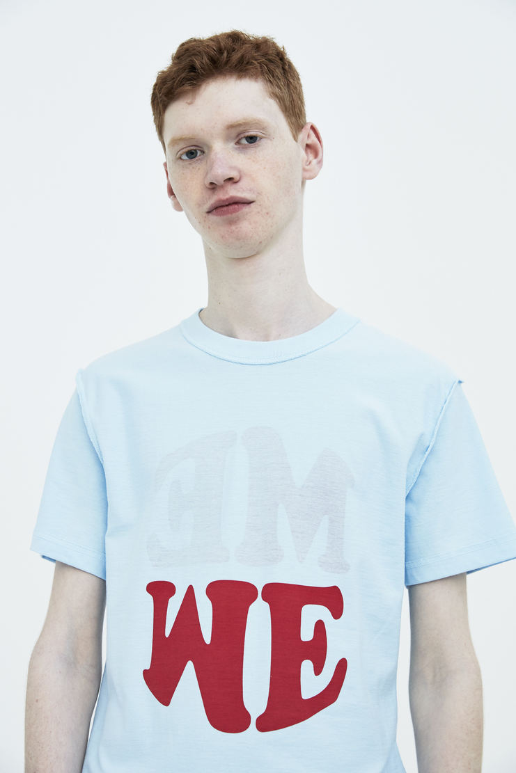 DARYLSTUDIO Light Blue Reversible ME/WE T-shirt me we T-shirt tshirt top short sleeve s/s 18 ss18 Spring Summer 2018 Machine-A