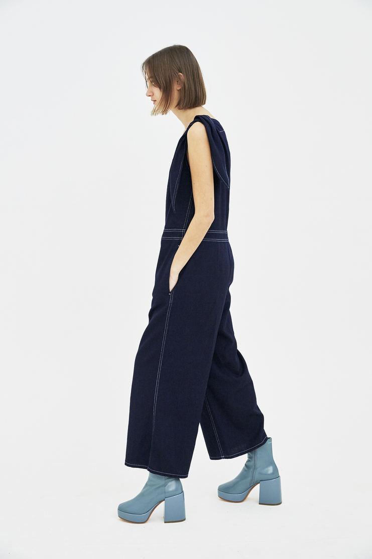 MM6 dark blue denim blue one shoulder jumpsuit bottom trousers pants S/S 18 SS18 Spring Summer 2018 Maison Margiela Mason Margela Margella Machine-A