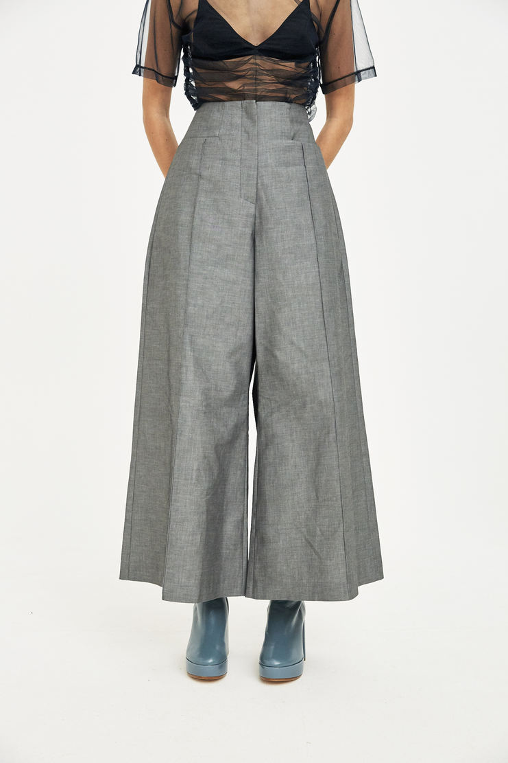 Delada Grey Tailored Wide Leg Trousers Pants Bottoms S/S 18 SS18 ss18 spring summer 2018 Machine-A high waist cropped culottes