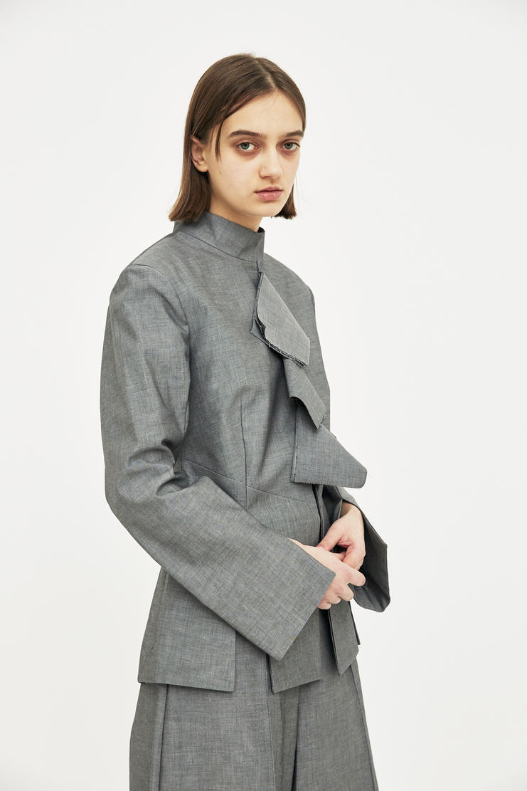 DELADA Grey Flap Blazer Coat S/S 18  ss18 dilada Delada Spring Summer 2018 Machine-A fitted jacket corporate layers
