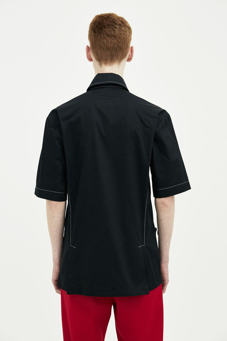 DELADA black short sleeve shirt jacket button up top outerwear S/S 18 ss18 DELADA dilada Spring Summer 2018 Machine-A