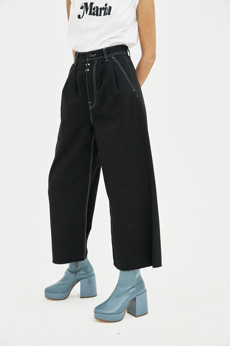 MM6 black denim bottom trousers pants  S/S 18 SS18 Spring Summer 2018 Maison Margiela Mason Margela Margella Machine-A