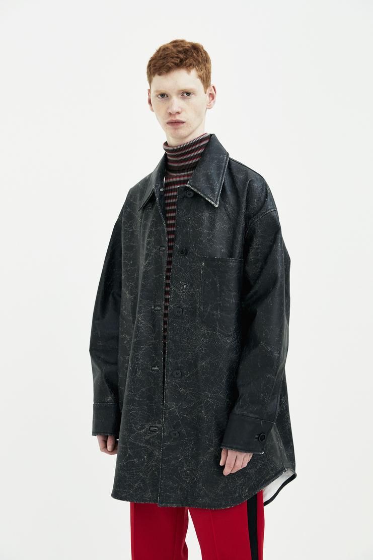 MM6 Black oversized calf leather shirt jacket outerwear coat top S/S 18 SS18 Spring Summer 2018 Maison Margiela Mason Margela Margella Machine-A