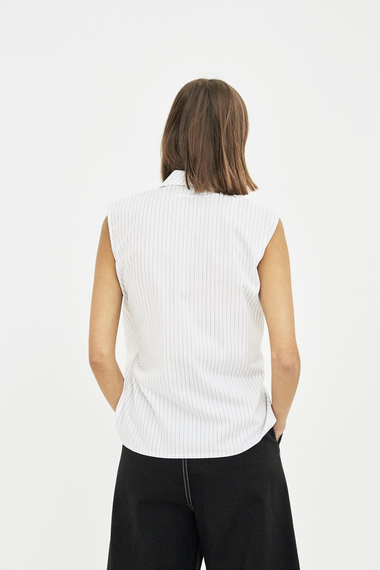 MM6 white stripe knot drape knot sleeveless top shirt S/S 18 SS18 Spring Summer 2018 Maison Margiela Mason Margela Margella Machine-A