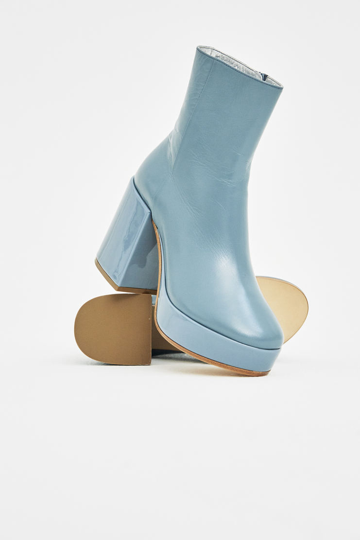 MM6 Blue Platform Ankle Boots MM6 Chunky Heel Almond Toed 4 inch 5 inches 20 cm centimetre Ankle Heels Shoes S/S 18 SS18 SHOWstudio Machine-A Margela Margella Mason Maisom Margeila Maison Margiela MMM6
