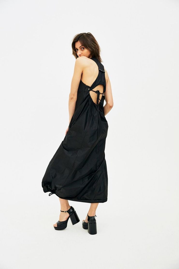 DELADA Black Open Back Long Dress with Rope S/S 18 dilada Spring Summer 2018 WOMENS PRE DWPS3DR01