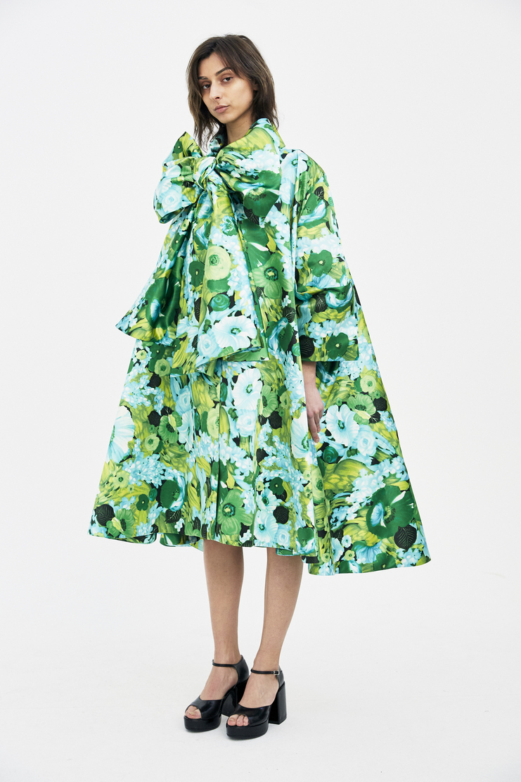 Richard Quinn Green Floral Bow Coat SS18 s/s spring summer 18 coats Machine A SHOWstudio womens
