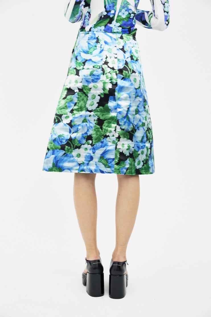 Richard Quinn Metallic A Line Skirt ss18 spring summer 18 liberty machine a csm lfw blue green floral print