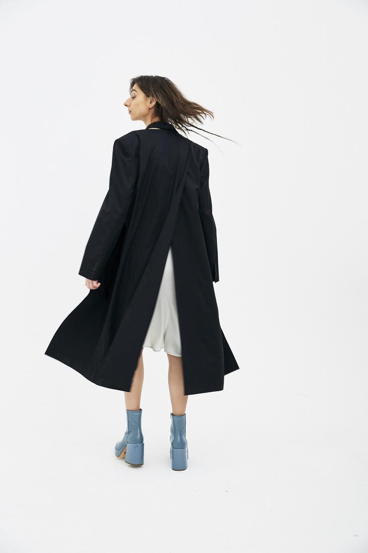 Helmut Lang half bra coat wool long detachable collar lapel shayne shane oliver ss18 spring summer aw18