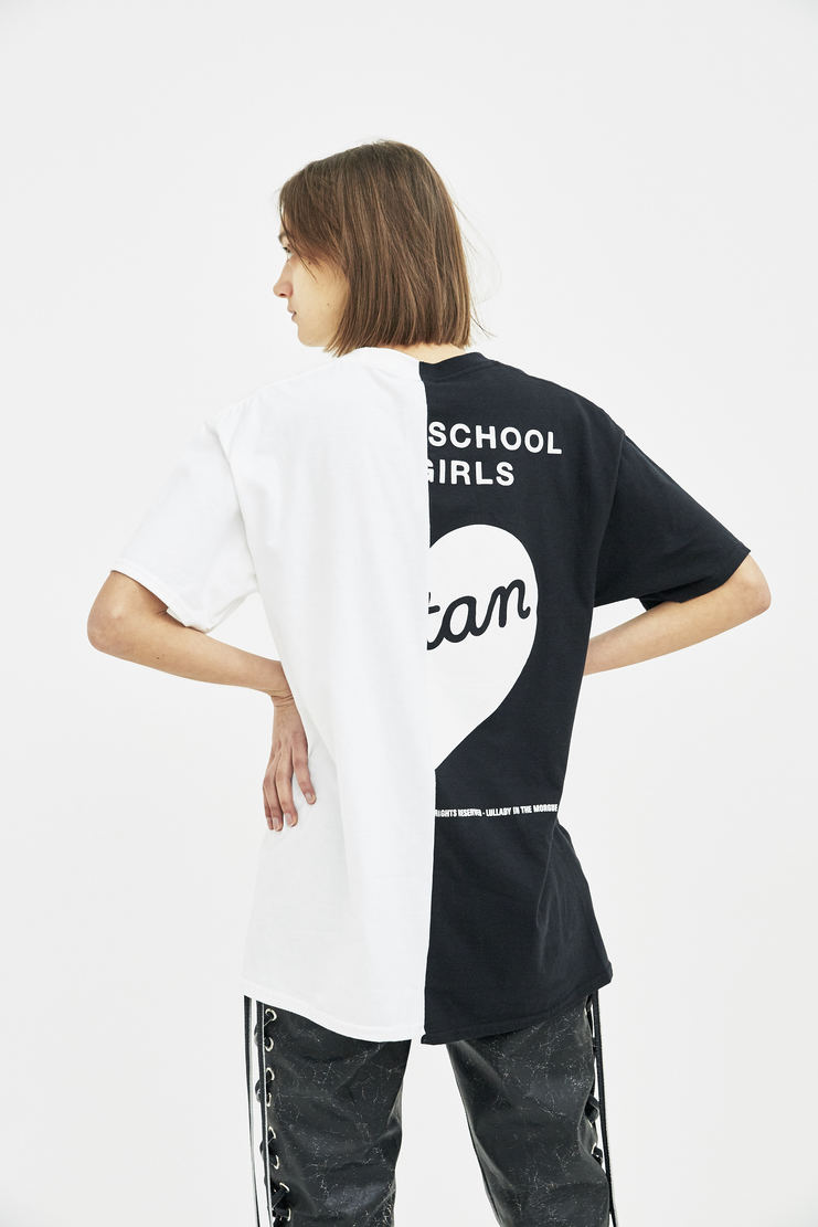 Satan's School for Girls Black and White Half and Half T-shirt ss18 spring summer 18 tee white black monochrome