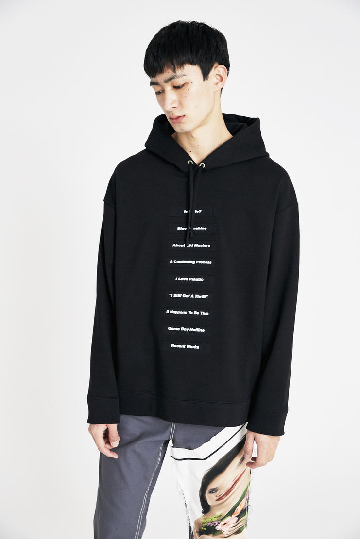 Raf Simons Black Classic Hoodie with white Printed Patches oversized ss18 spring summer 18 machine a