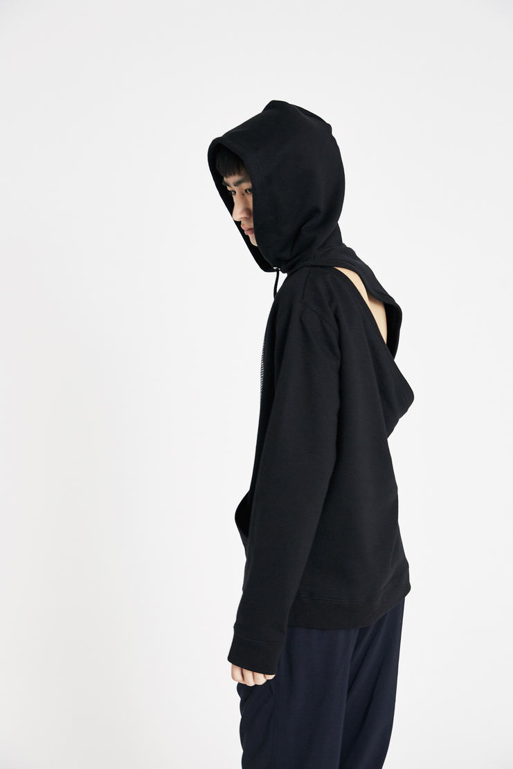 Raf Simons Black Two Piece Hoodie with White Print ss18 spring summer 18 machine a
