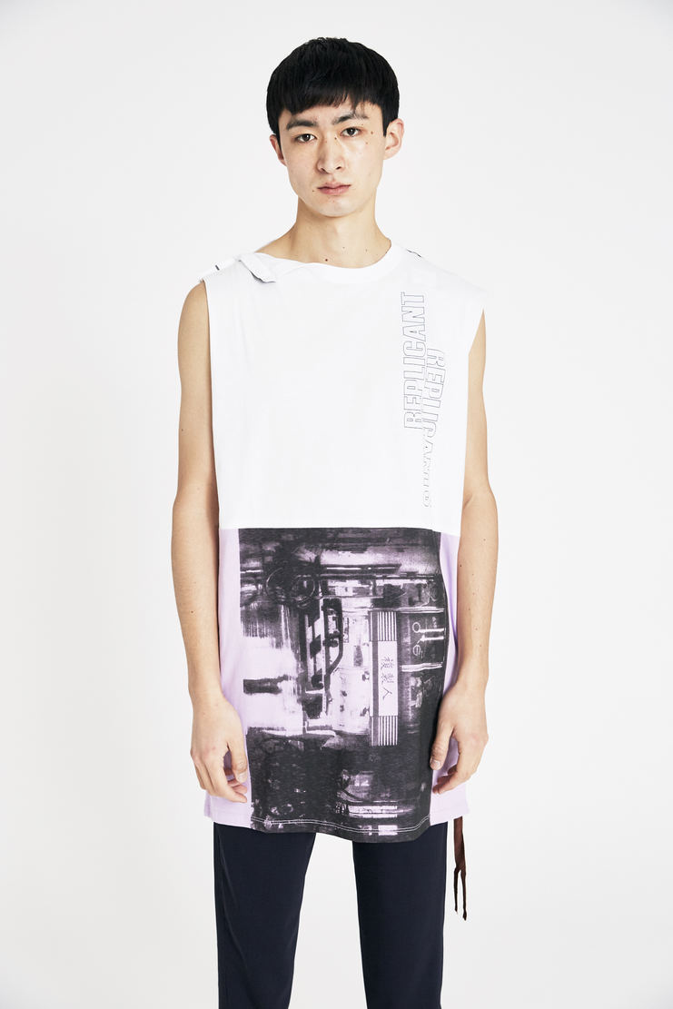Raf Simons White Sleeveless Long T-shirt s/s18 ss18 raf simones tee top ss18 spring summer pfw machine a cotton tie