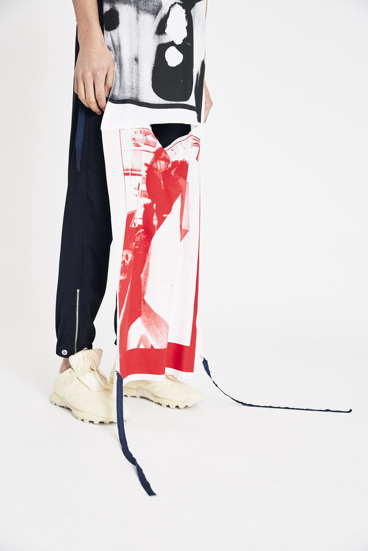Raf Simons White and Brown Patched Jersey Top  Long T-shirt s/s18 raf simones tee top ss18 spring summer pfw machine a cotton tie panel dress