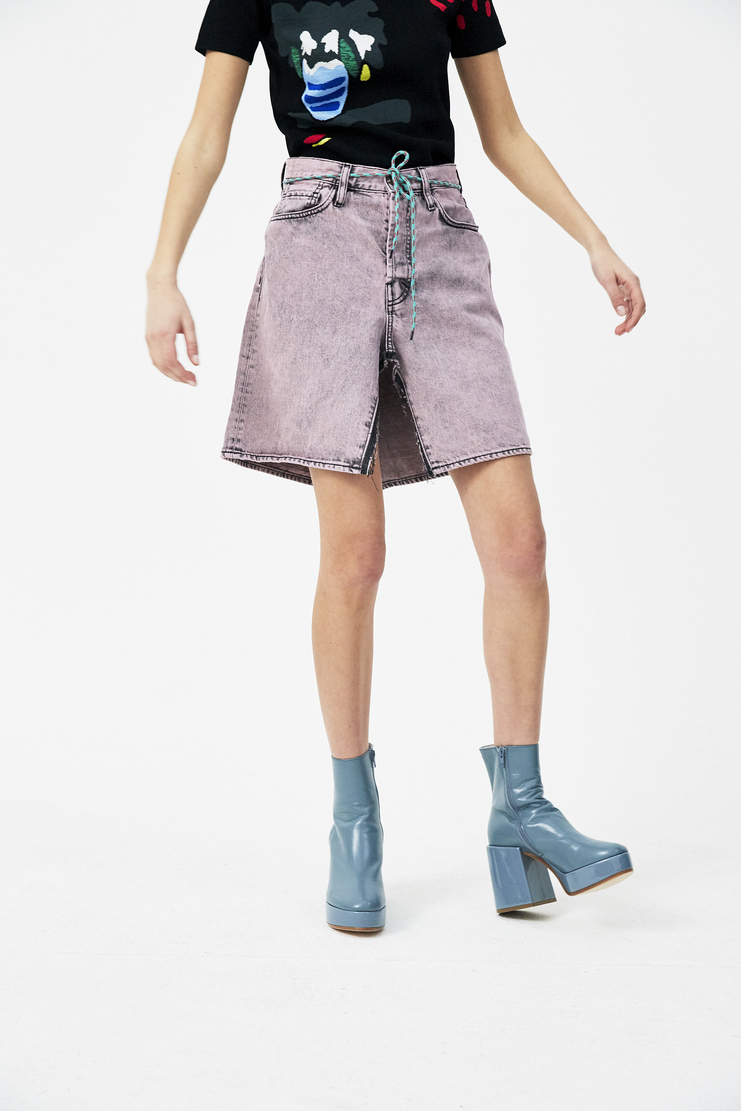 ARIES Pink Open Jeans Skirt new arrivals S/S 18 spring summer 18 pre collection Machine A SHOWstudio skirts womens SOAR32204